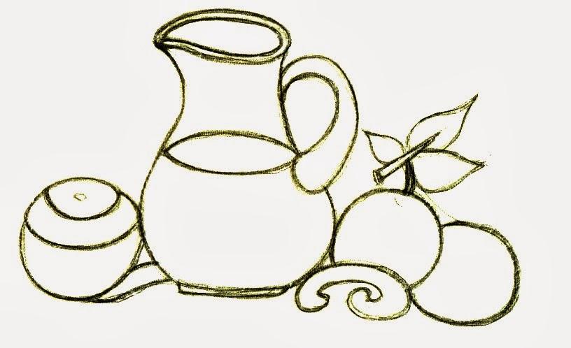 desenho de jarra de suco de laranja para pintar em semaninha de panos de copa