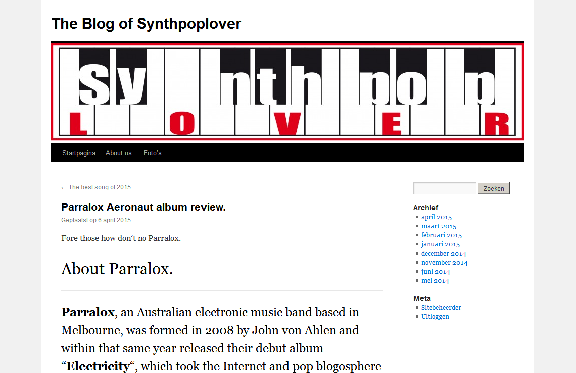 Synthpop Lover (Netherlands) blog reviews Aeronaut