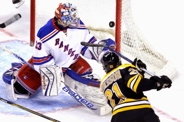 Bruins winger Loui Eriksson scores against the NY Rangers