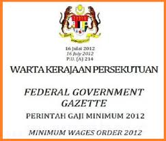 INFO: Pelaksanaan Perintah Gaji Minimum Berkuatkuasa Mulai 01 Januari 2013