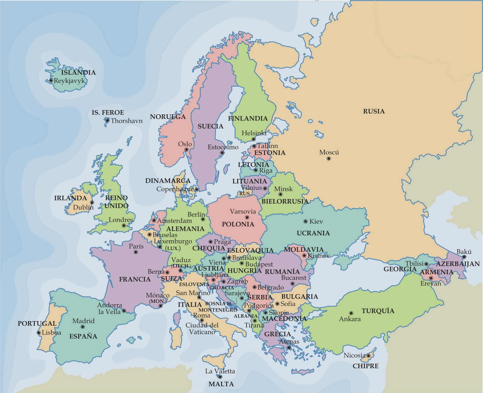 Europa países y capitales