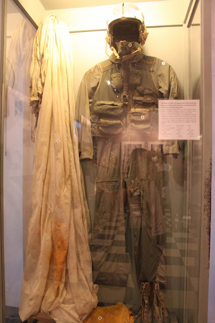 The flight suit of Navy Lieutenant Commandar John Mc Cain while flying A4E Skyhawk is exhibited at Hoa Lu Prison (Maison Centre) in Hanoi, Vietnam