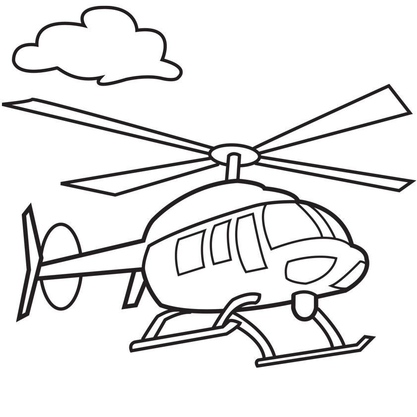 Transportation Coloring Pages: Helicopters Transportation Coloring Pages