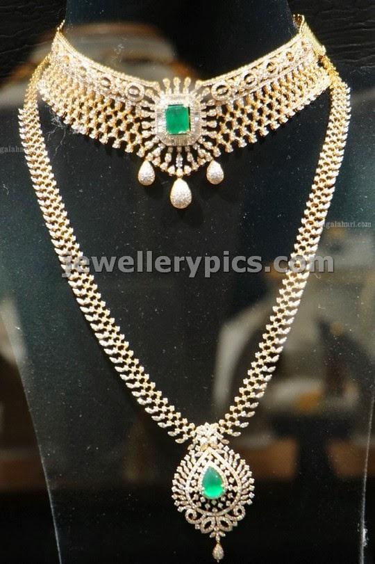 manepalli diamond wedding jewellery set studded with emeralds