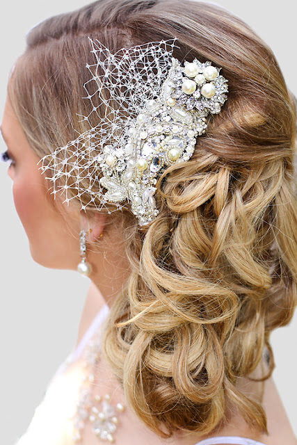 "Vintage inspired bridal headpiece- ""Phoebe Lace Headpiece"""