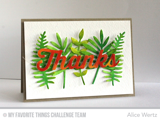 Leafy Thanks Card by Alice Wertz featuring the WIld Greenery and Many Thanks Die-namics #mftstamps