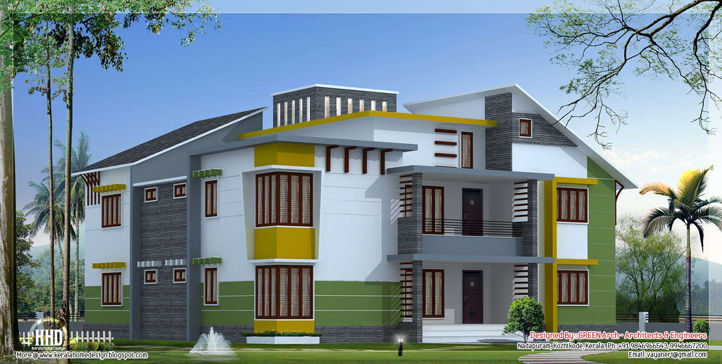 Luxury home elevations omahdesigns net for Kerala building elevation