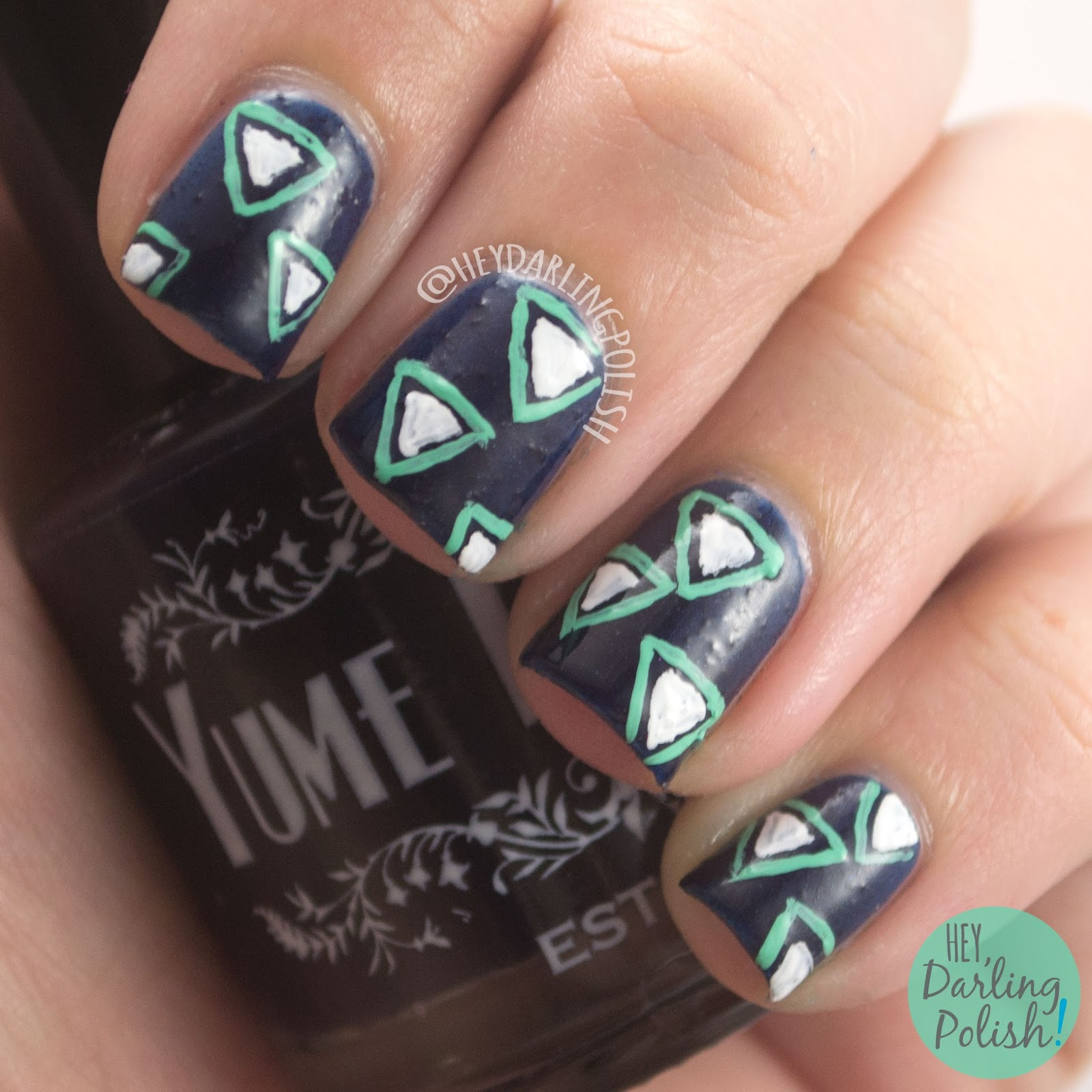 blue, turbulent space, triangles, pattern, nails, nail art, nail polish, indie polish, yume lacquer, sailor moon,
