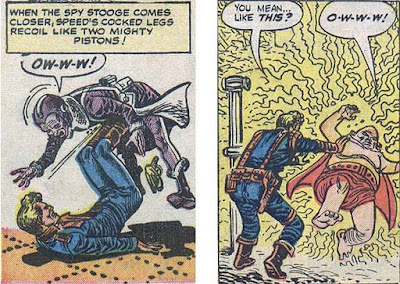 panels from third and second Spaceman 1 stories: 'Ow-w-w' and 'O-w-w-w'