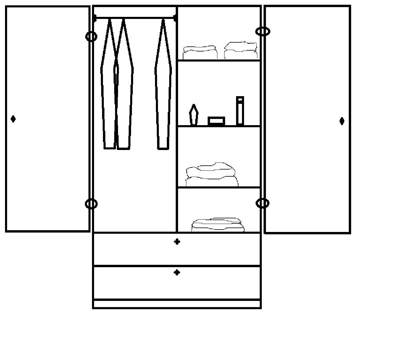 Muebles de los angeles planos de roperos compuestos y simples for Medidas para armar un ropero de melamina