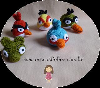 Angry Bird Crochê, Red, Chuck, Al, Pig, The Blue