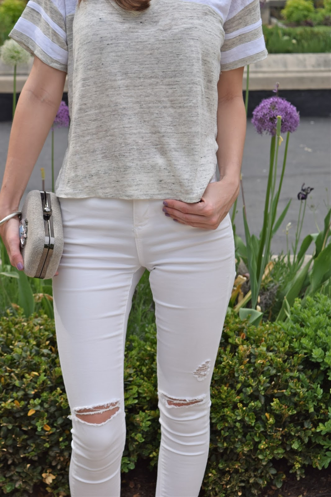 Forever21 varsity style crop top, Top Shop white destroyed skinny jeans