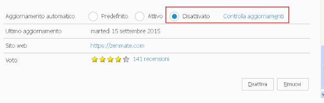 Disattivare aggiornamento automatico addon Firefox