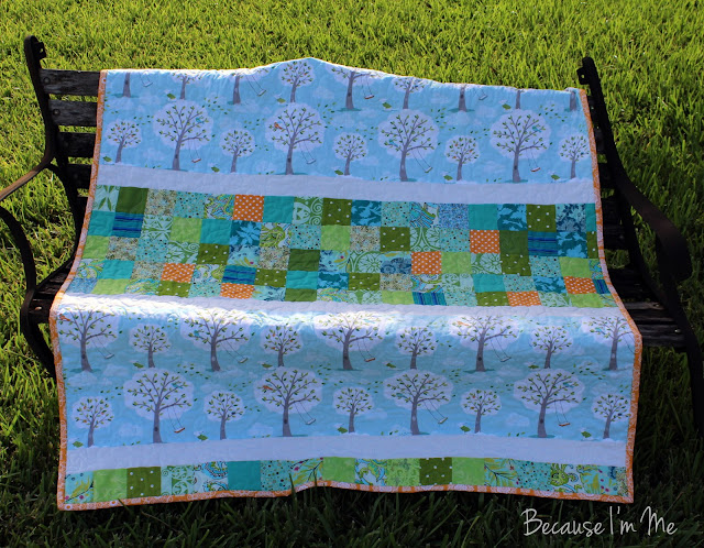 Because I'm Me boys quilt, trees, patchwork, blue, orange, and green