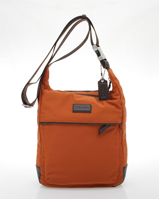 COACH VARICK ORANGE / BROWN NYLON TECH MESSENGER CROSSBODY BAG 70913