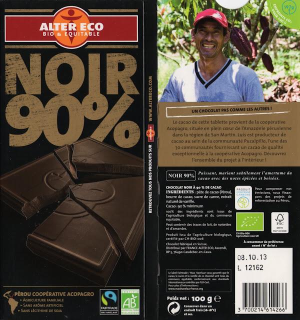 tablette de chocolat noir dégustation alter eco pérou noir 90