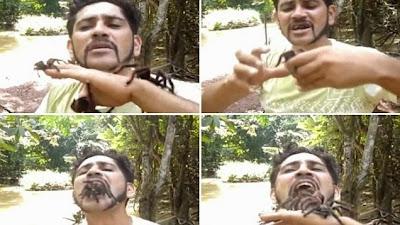 Αυτός ο άνδρας γεμίζει το στόμα του με ανατριχιαστικές ταραντούλες
