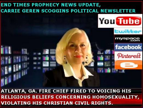 CARRIE GEREN SCOGGINS OF END TIMES PROPHECY NEWS UPDATE, TV SPOT AND WEBCAST ON YOUTUBE
