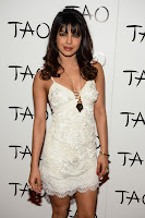 Priyanka Chopra Spicy Mini White Gown Deep Neck Sleeveless Shoulder less Dress in USA