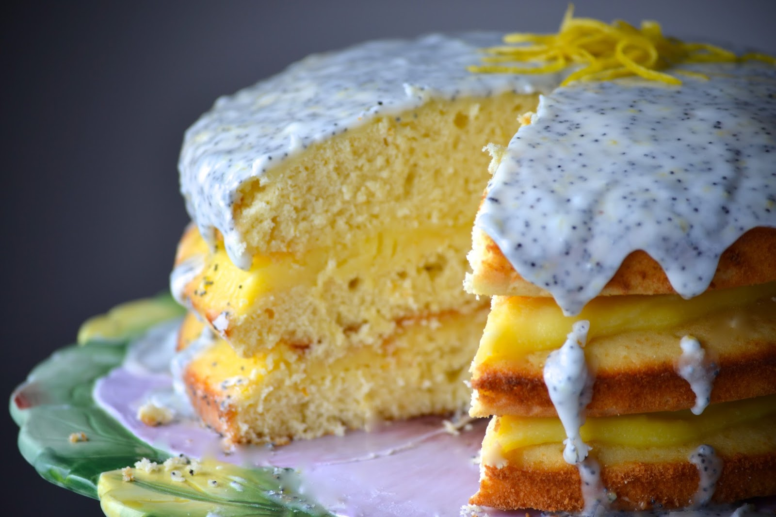 lemon poppy seed cake with lemon curd