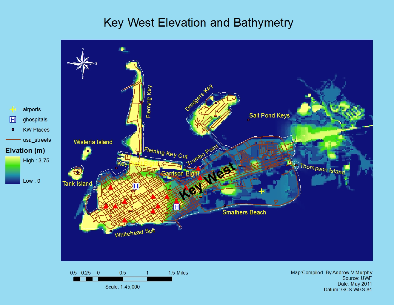 Applications in gis hurricane a study of wilma effects in key west fl notice the highest elevation is 375 meters the contour map on the right is another ways to portray elevations gumiabroncs Image collections