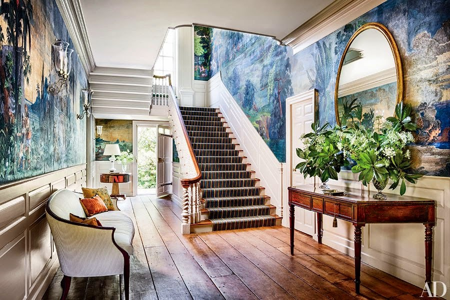 Tapete mit Landschaftsmalerei - perfekte Dekoration für Flur, Wohnzimmer und Esszimmer