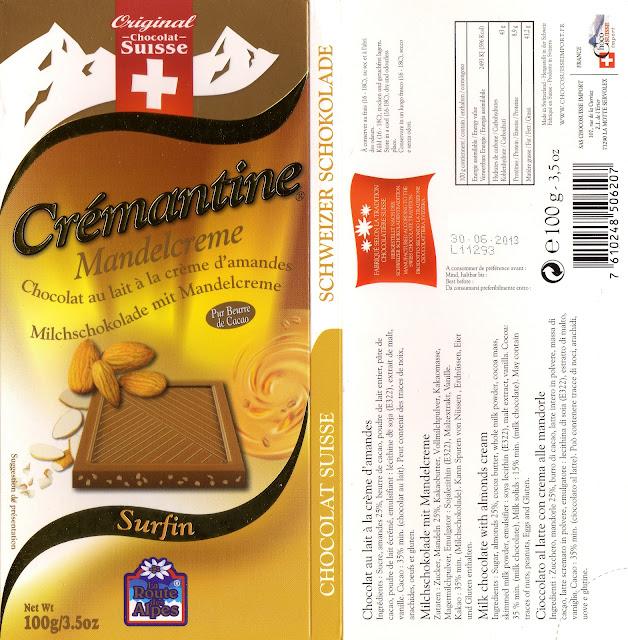 tablette de chocolat lait gourmand orset la route des alpes lait crémantine