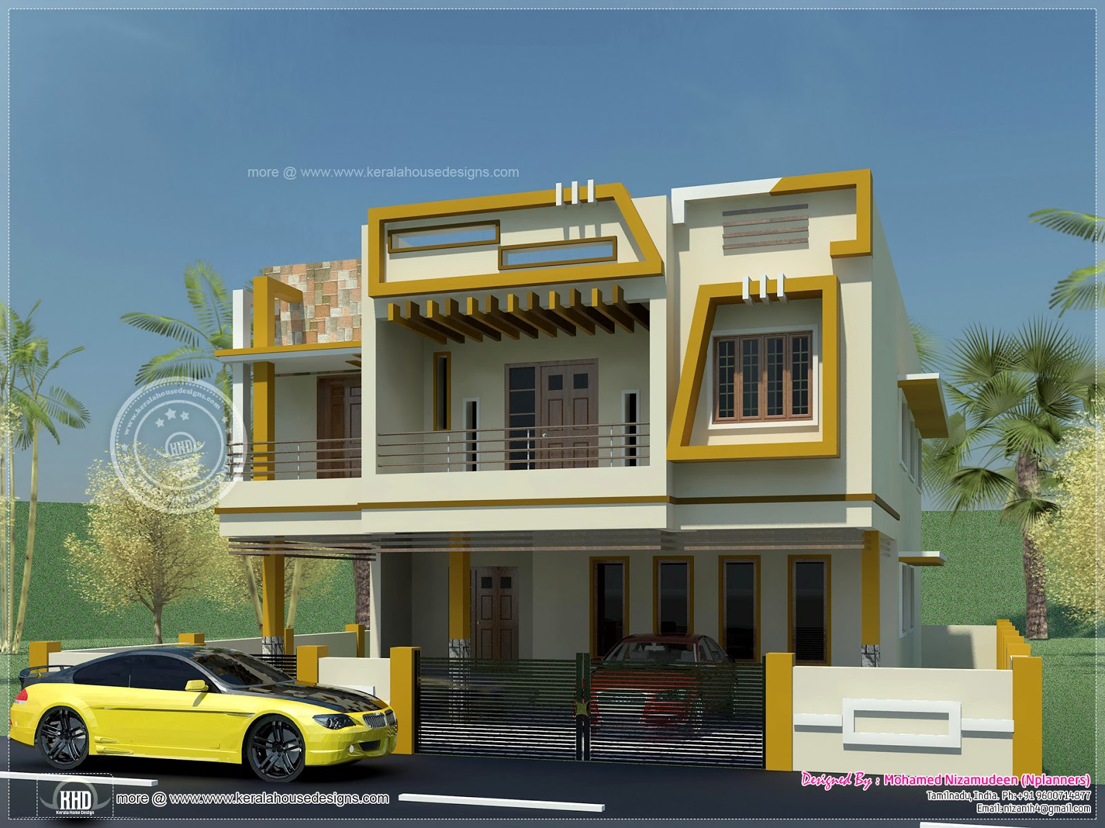 Modern tamilnadu style home design in 1508 for Tamilnadu house designs photos