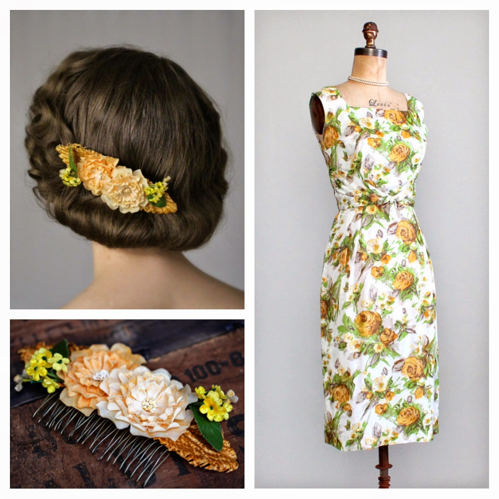 Country Spring #1950s #1960s #fashion #marigold #yellow #green #vintage #dress