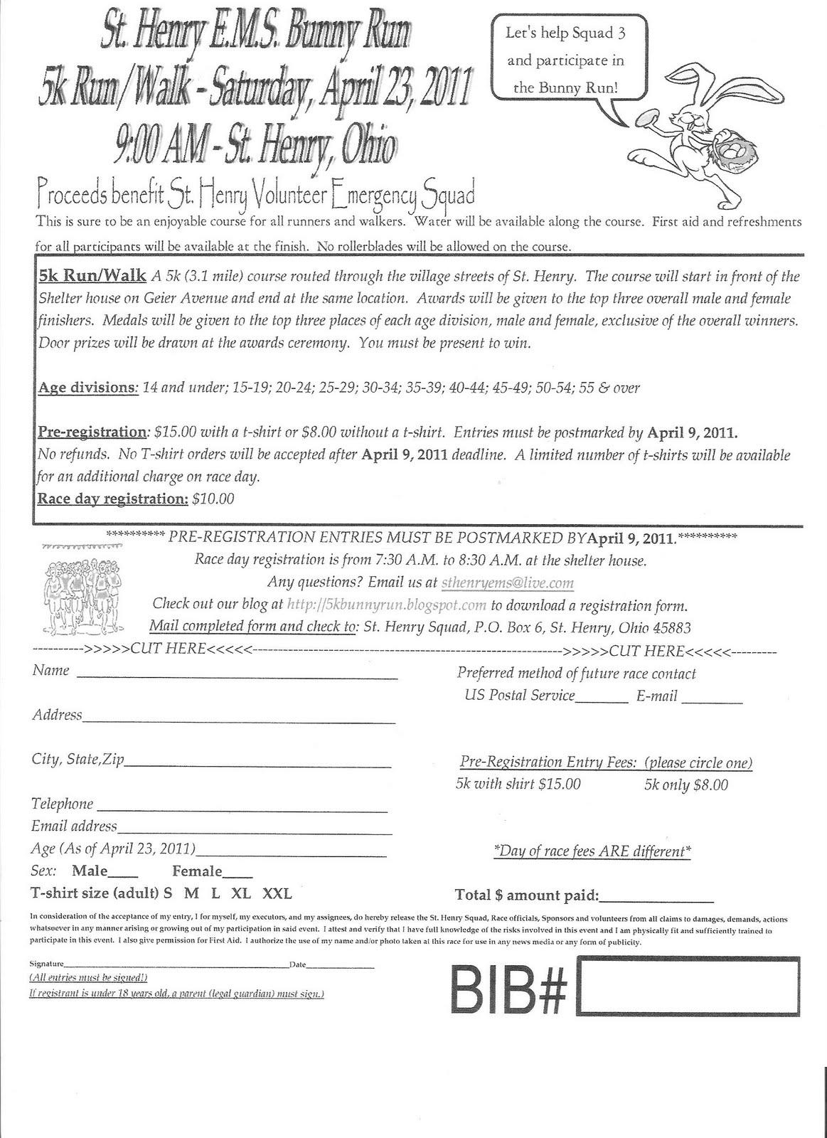 5k registration form template word