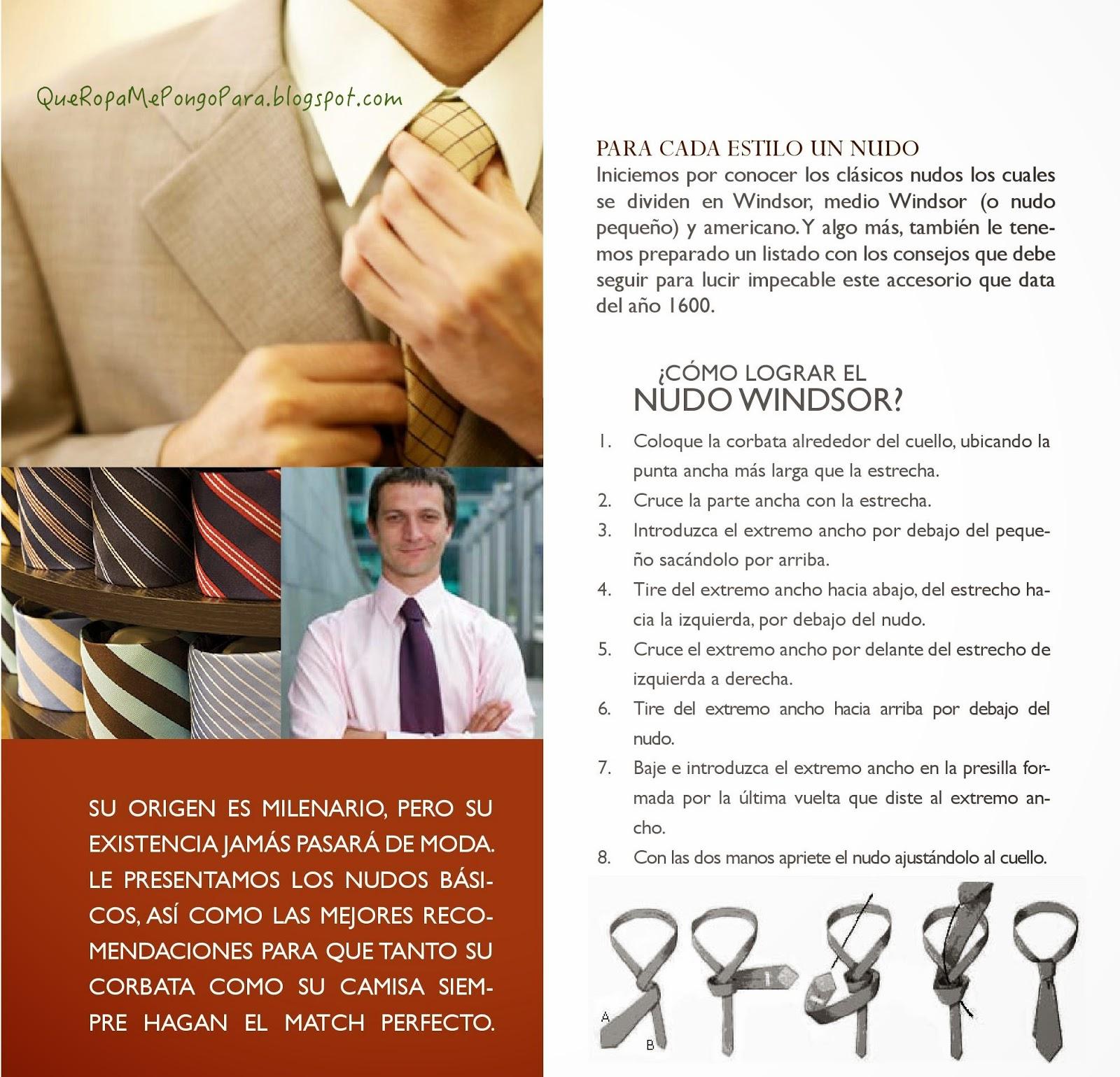 Como hacer un nudo de corbata windsor paso a paso por for Nudo de corbata windsor