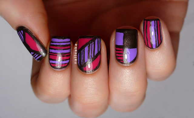 Nail art in mix & match geometric/striped designs, with Illamasqua Jo'Mina, Barry M Shocking Pink & 17 Smokey Marble
