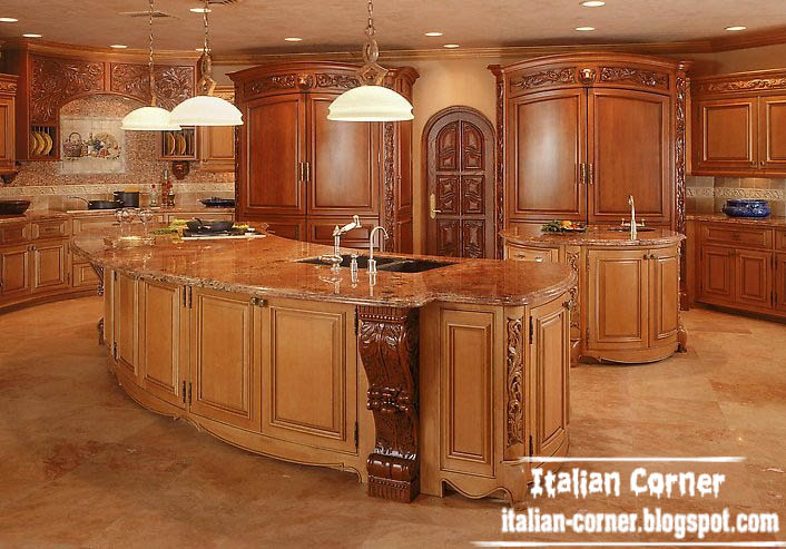 Italy luxury kitchen design with wooden kitchen cabinets furniture for