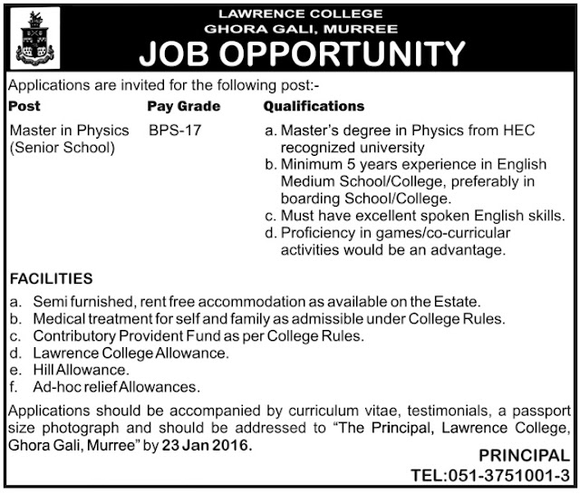 Physics teacher Jobs in Lawrence College Murree