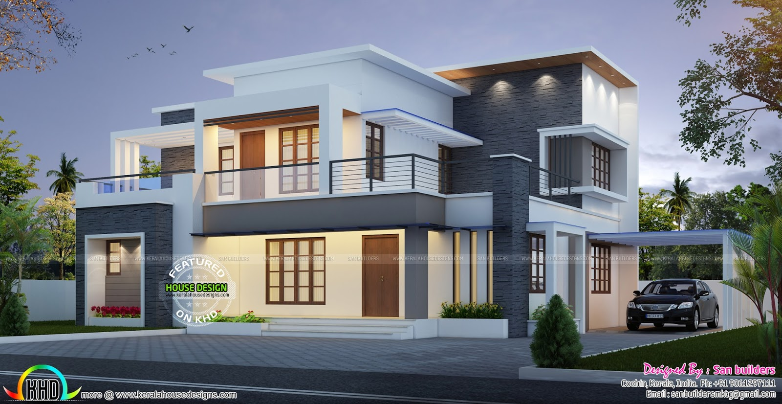 House plan and elevation by san builders kerala home for Contemporary indian house elevations