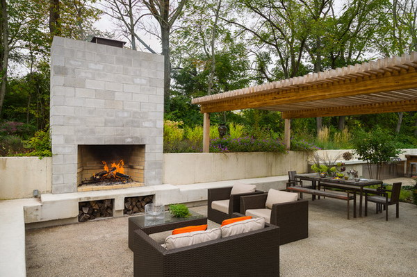 Outdoor Patio With Concrete Block Fireplace
