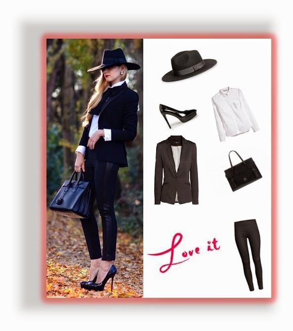 Conjunto preto de calças e casaco