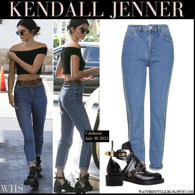 Kendall Jenner in black crop top with high rise mom jeans Topshop what she wore july 30