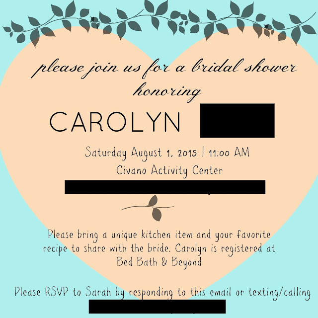 teal bridal shower invitation