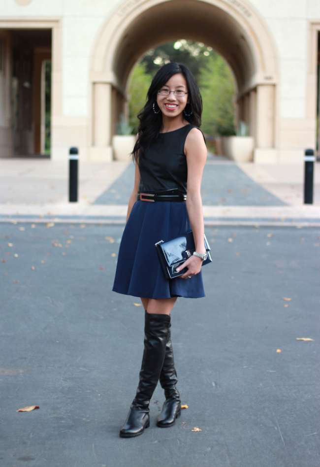 black and navy outfit fall trends leather top