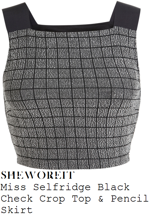 stephanie-waring-black-white-grid-check-sleeveless-crop-top-and-pencil-skirt