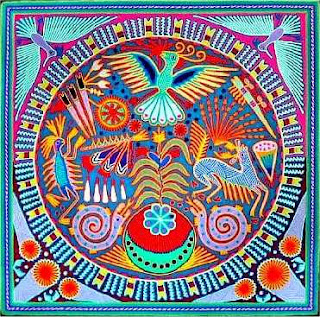 Huichol indian yarn painiting