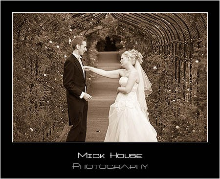 Bride and Groom in the garden at Nonsuch Mansion