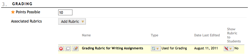 image showing how to associate rubric with Grade Center content