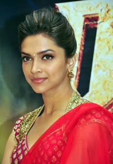 Deepika Padukon in Red Saree Oink Blouse Spicy Hairstyle