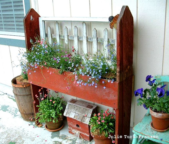 Planter, part of Selectively salvaged reclaimed wood potting bench - Julie Turk-Franzen