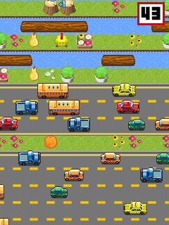 Screenshots of the Cross The Road Bit for java mobile, phone.