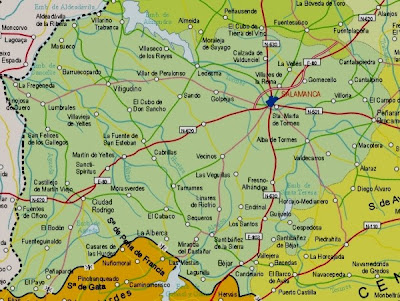 Salamanca Mapa Ciudad de la Región