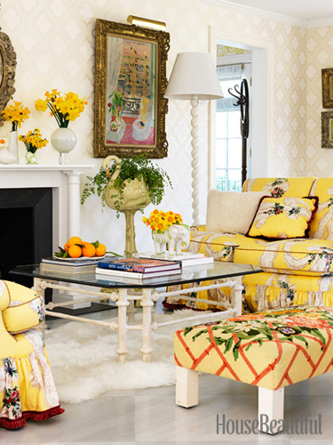 Yellow living room seating