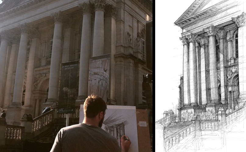 06-Tate-Britain-Luke-Adam-Hawker-Creating-Architectural-Drawings-on-Location-www-designstack-co